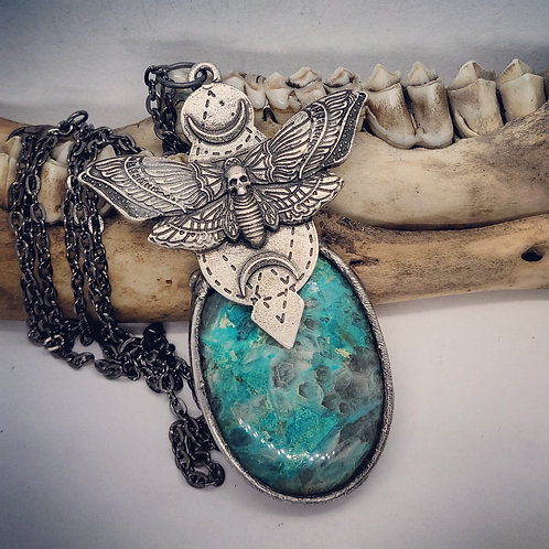 "Soldered Moth with Chrysocolla/Malachite on 22"" Chain"