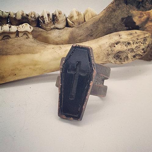 Electroformed Adjustable Carved Horn Coffin Ring