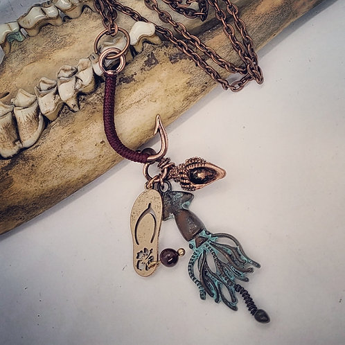 """Large Fishing Hook with Charms on 22"""" Chain"""