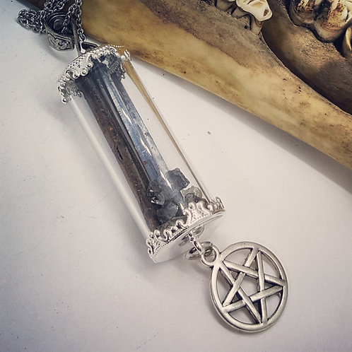 """Glass Vial with Coffin Nails and Herkimer Diamonds on 20"""" Chain"""