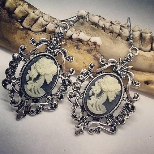 Glow in the dark Skeleton Lady Cameo Earrings