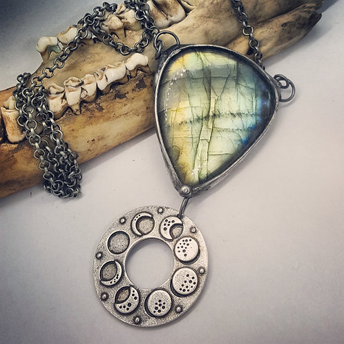 """Soldered Labradorite with Moon Phases on 20"""" Chain"""