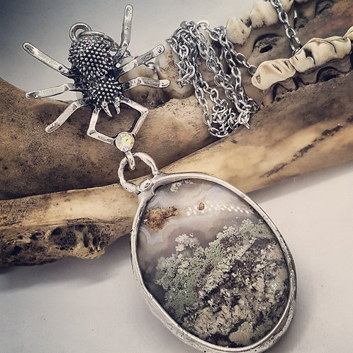 """Soldered Fairy Moss Agate with Spider on 20"""" Chain"""