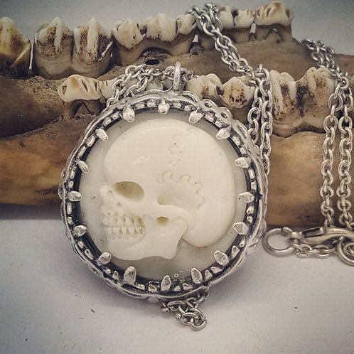 "Carved Bone Skull on 24"" Chain"