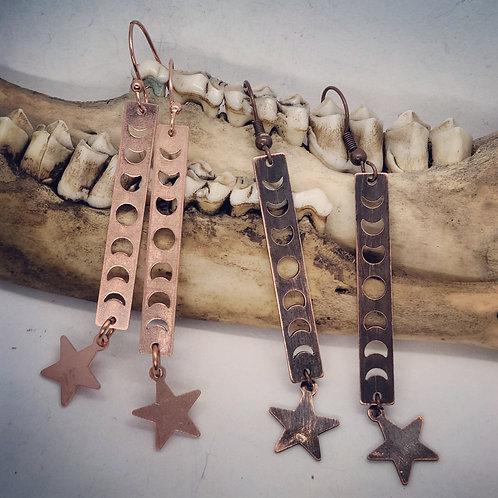 Moonphase Copper Earrings
