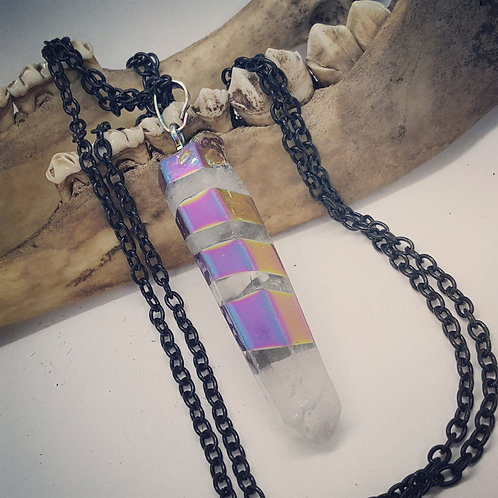 Rainbow Quartz Point with Long Chain
