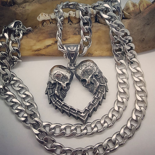 "Heavy Stainless Steel Skeleton Heart on Heavy 22"" Stainless Chain"