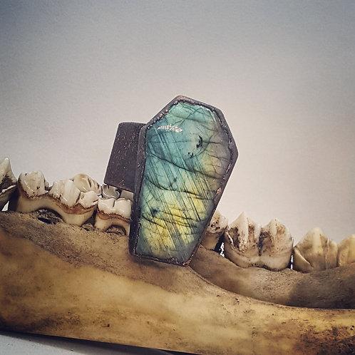 Large Adjustable Electroformed Labradorite Coffin Ring