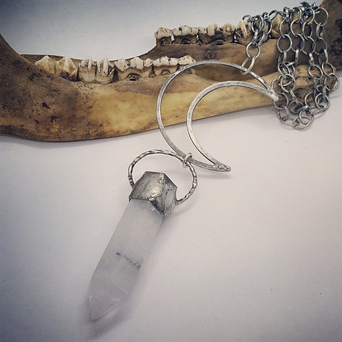 """Large Crescent Moon with Soldered Terminated Quartz Point on 20"""" Chain"""