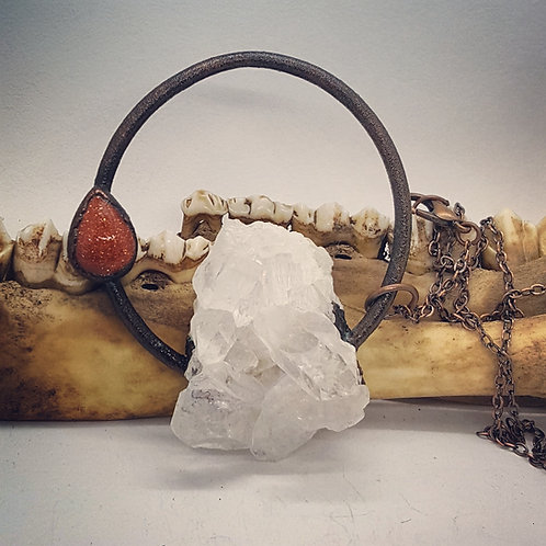 Electroformed Quartz Crystal Cluster with Sunstone on Long Chain