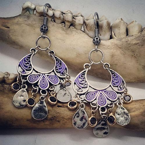 Purple & Silvertone with Rhinestones Earrings
