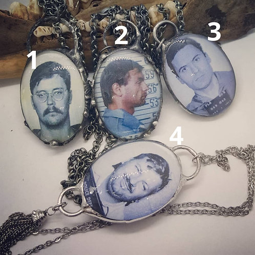 "Double Sided Soldered Serial Killer Necklaces on 20"" Chain"