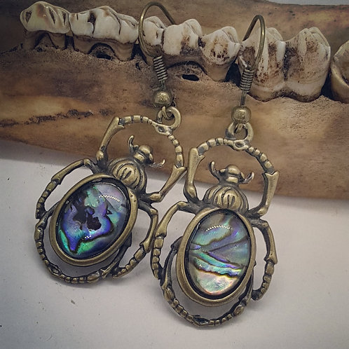 Mother of Pearl Scarab Earrings