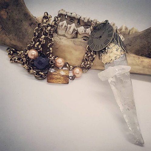 Large Quartz Point on Steampunk Style Vintage Chain