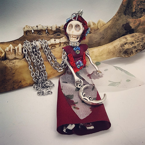 Skeleton Lady with Crescent Moon on Long Chain