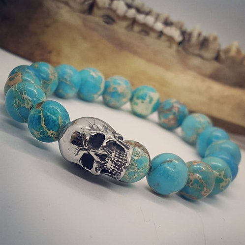 Stainless Skull Stretch Bracelet with Sea Sediment Jasper