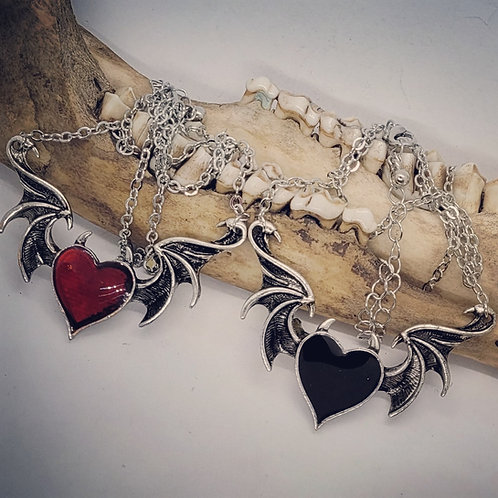 Winged Heart with Horns Necklace