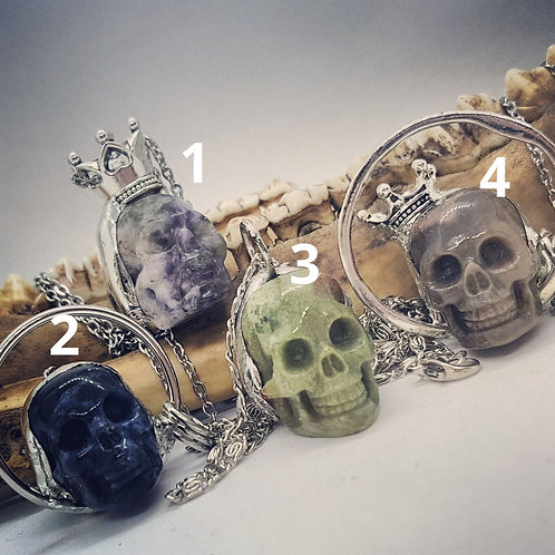 "1"" Soldered Stone Skull Necklaces"