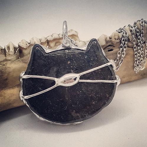 "Soldered Rhodonite Cat on 20"" Chain"