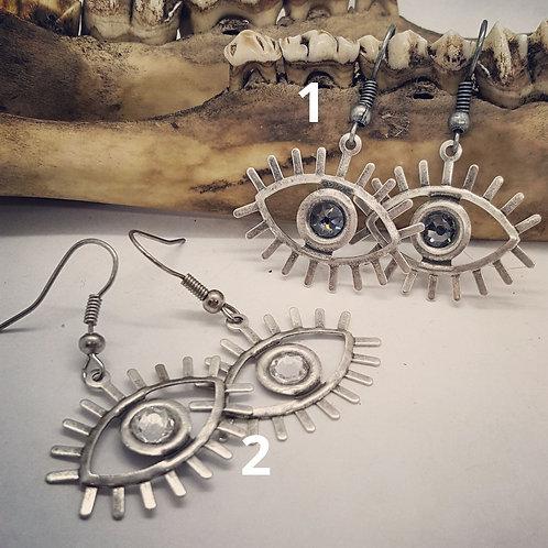 Eye Earrings with Swarovski Crystals