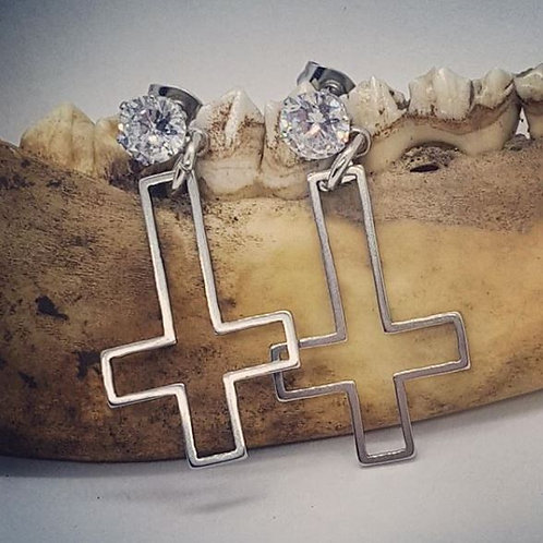 Stainless Steel Crosses with CZ Post Earrings