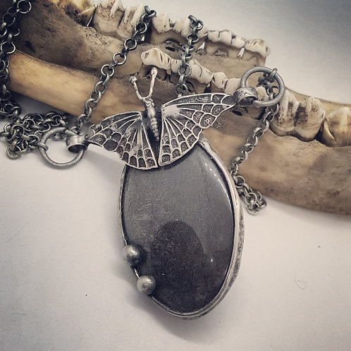 "Soldered Silver Sheen Obsidian with Moth on 20"" Chain"