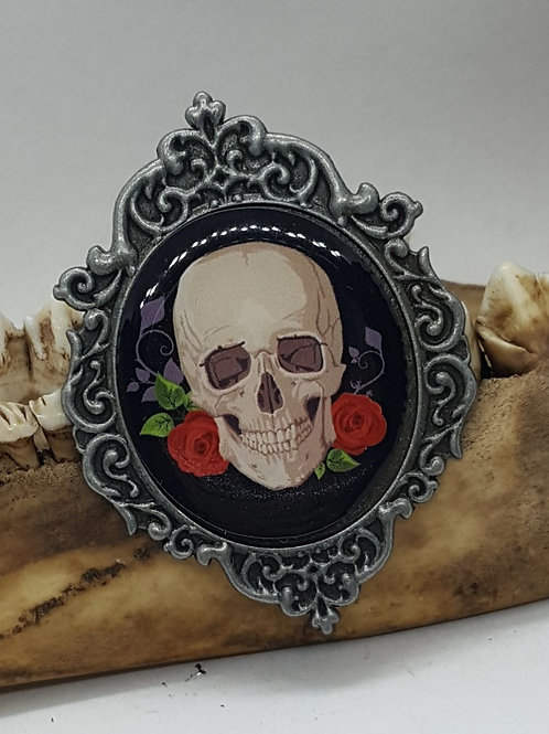 """2"""" Metal & Acrylic Skull with Roses Pin"""