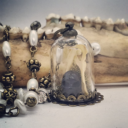 """Tiny Bell Jar with Carved Horn Skull & Mice Bones on 16""""Chain with 2"""" Extender"""