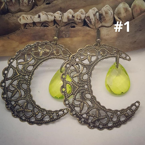 Filigree Crescent Moon Earrings
