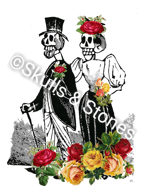 Jose Posada Couple with Roses Print - Matted
