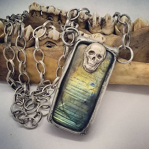 "Soldered Labradorite with Skull on 18"" Chain"