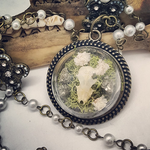 "Real Bat Skull with Pyrite & Moss on 18"" Chain"