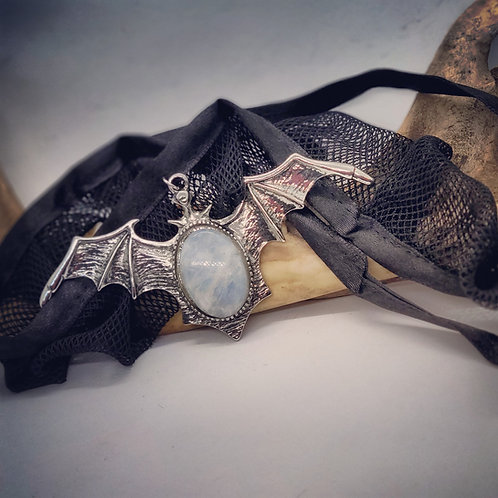 Huge Bat with Moonstone on Lace Collar Necklace