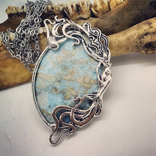 """Soldered Larimar with Mermaid on 22"""" Chain"""