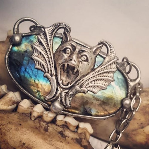 """Soldered Labradorite with Gargoyle on 18"""" Chain"""