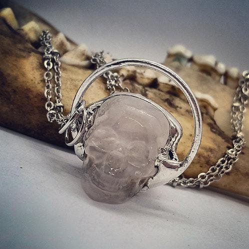 """Soldered 1""""Rose Quartz Skull on 20"""" Chain"""
