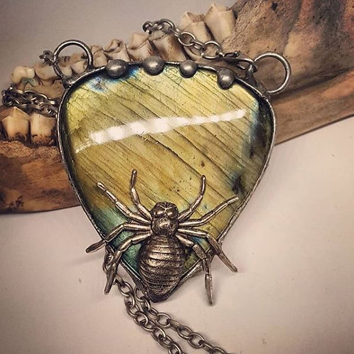 "Huge Soldered Labradorite with Spider on 20"" Chain"