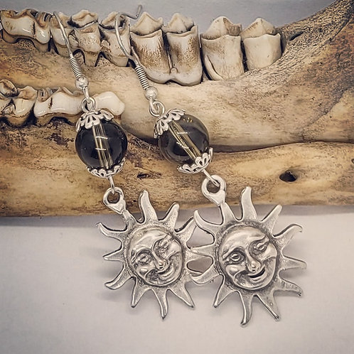 Silver Plated Sun with Smokey Quartz Earrings