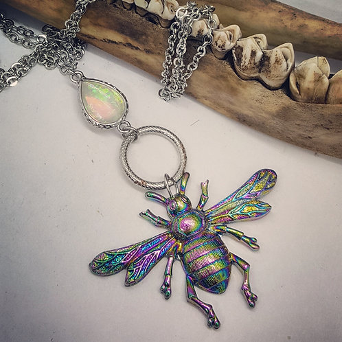 "Rainbow Colored Bumblebee on 30"" Chain"