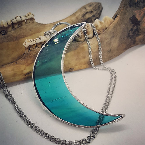 "Soldered 3"" Glass Crescent Moon on 20"" Chain"