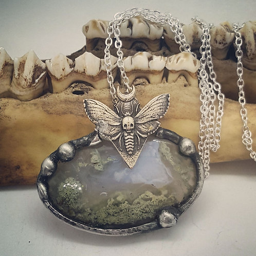 "Soldered Tiny Lunar Moth on Fairy Moss Agate & 18"" Chain"