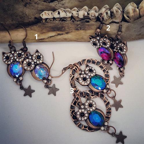 Coppertone  Owls & Rhinestone Earrings