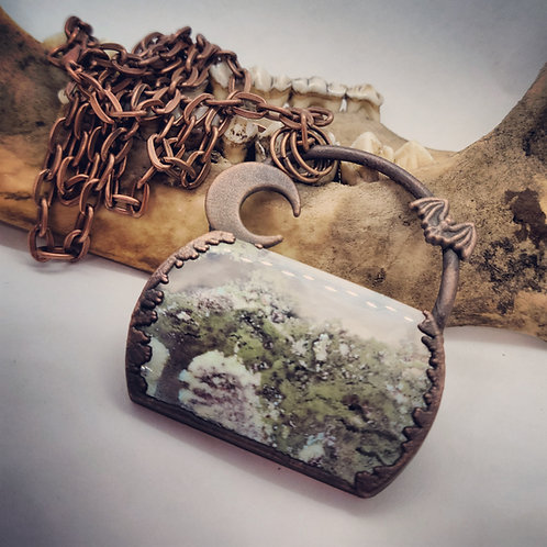"""Electroformed Moss Agate with Moon & Bat on 22"""" Chain"""