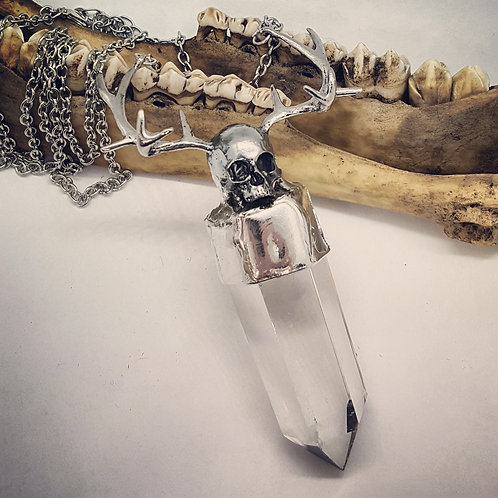 Soldered Quartz Point with Skull & Antlers on Long Chain