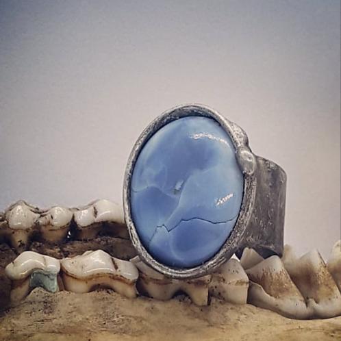 Adjustable Soldered Wide Band Blue Opal Ring
