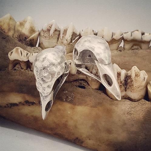 Silver Plated Bird Skull Post Earrings