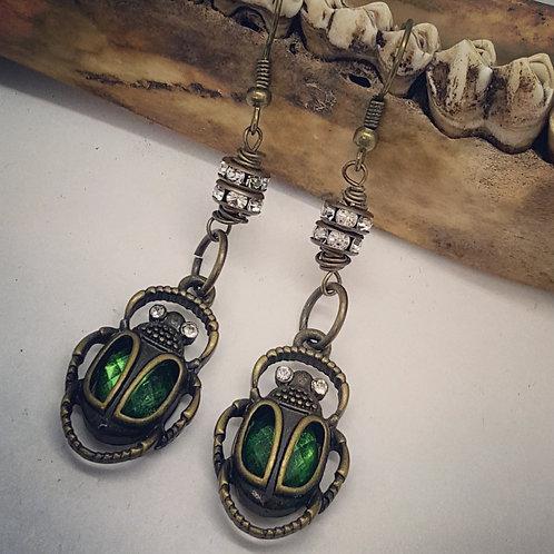 Vintage Style Scarabs with Rhinestones Earrings