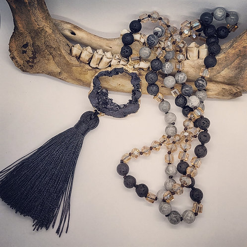 Geode with Tassel on Long Beaded Chain