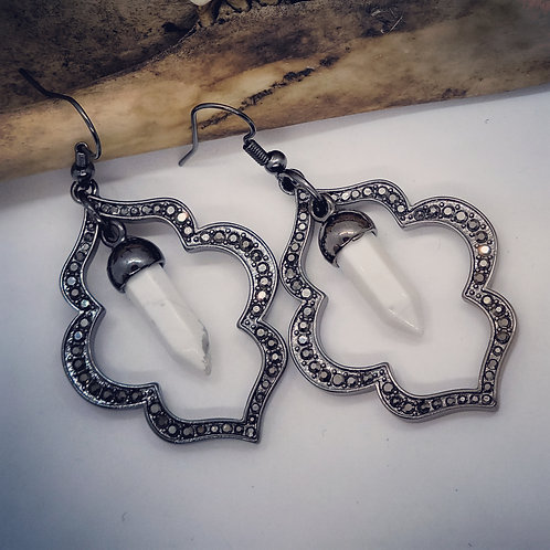 Pave Style Earrings with Howlite Points