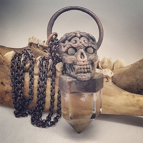 "Electroformed Quartz Point with Sugar Skull on 22"" Chain"